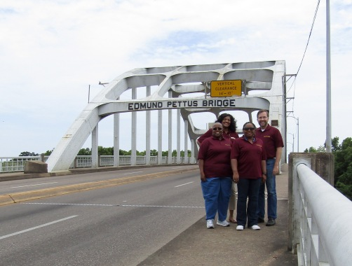 The Hinds NEH team on the historic Edmund Pettus Bridge.