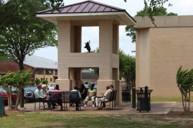 Part of the seminar was held outdoors under the historic bell tower