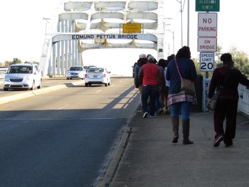 Students walking over the Pettus Bridge in Selma.