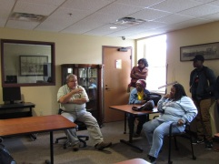 Dana Chandler discussing the importance of the archives with Hinds-Utica students.
